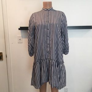 max edition Striped Flounce-Hem Cotton Dress.NWT